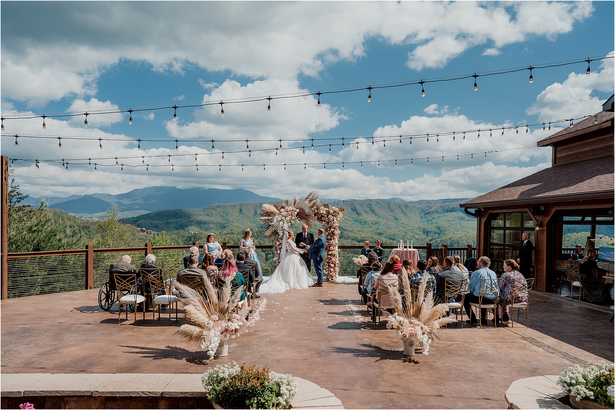 Fairytale Wedding with Magical Floral Arbor overlooking the Smokies