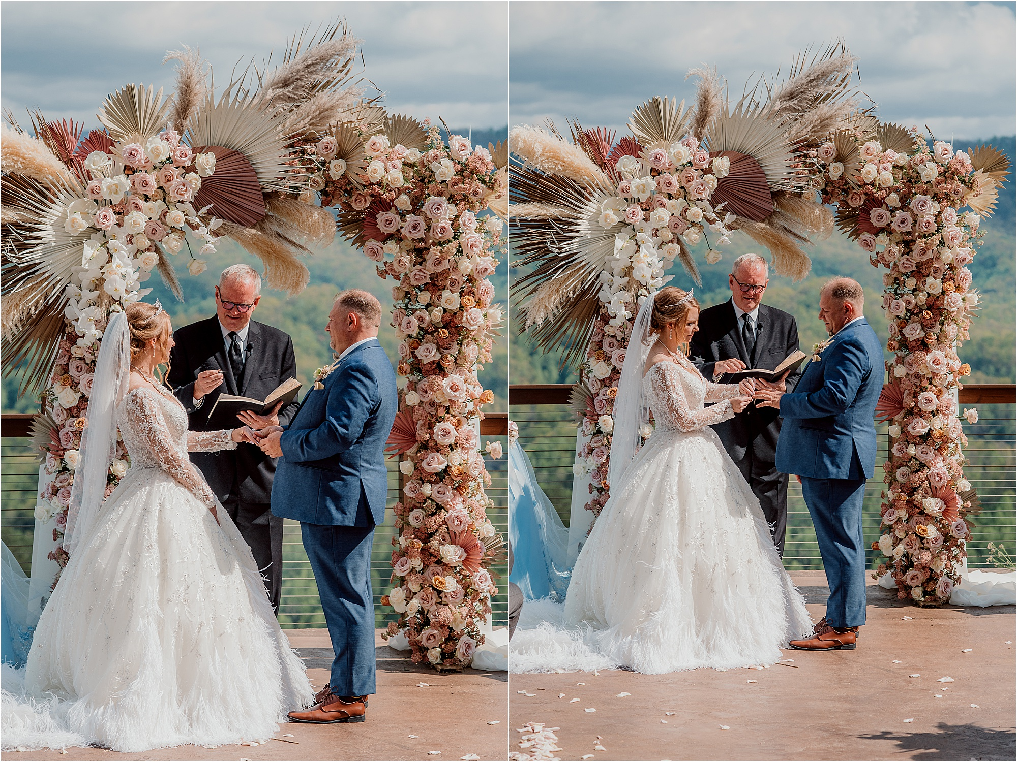 bride and groom exchange wedding rings at ceremony