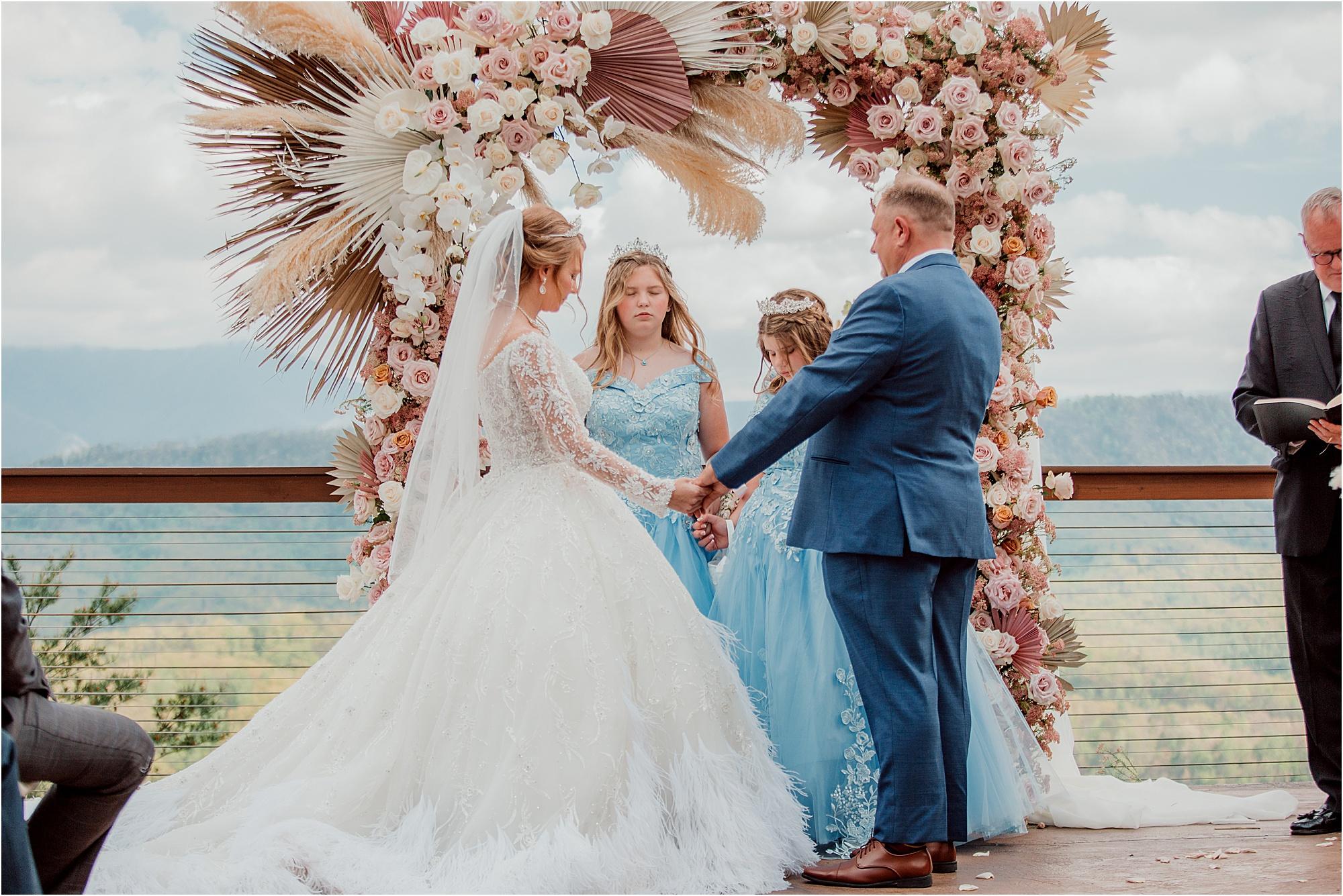 family prayer at wedding ceremony
