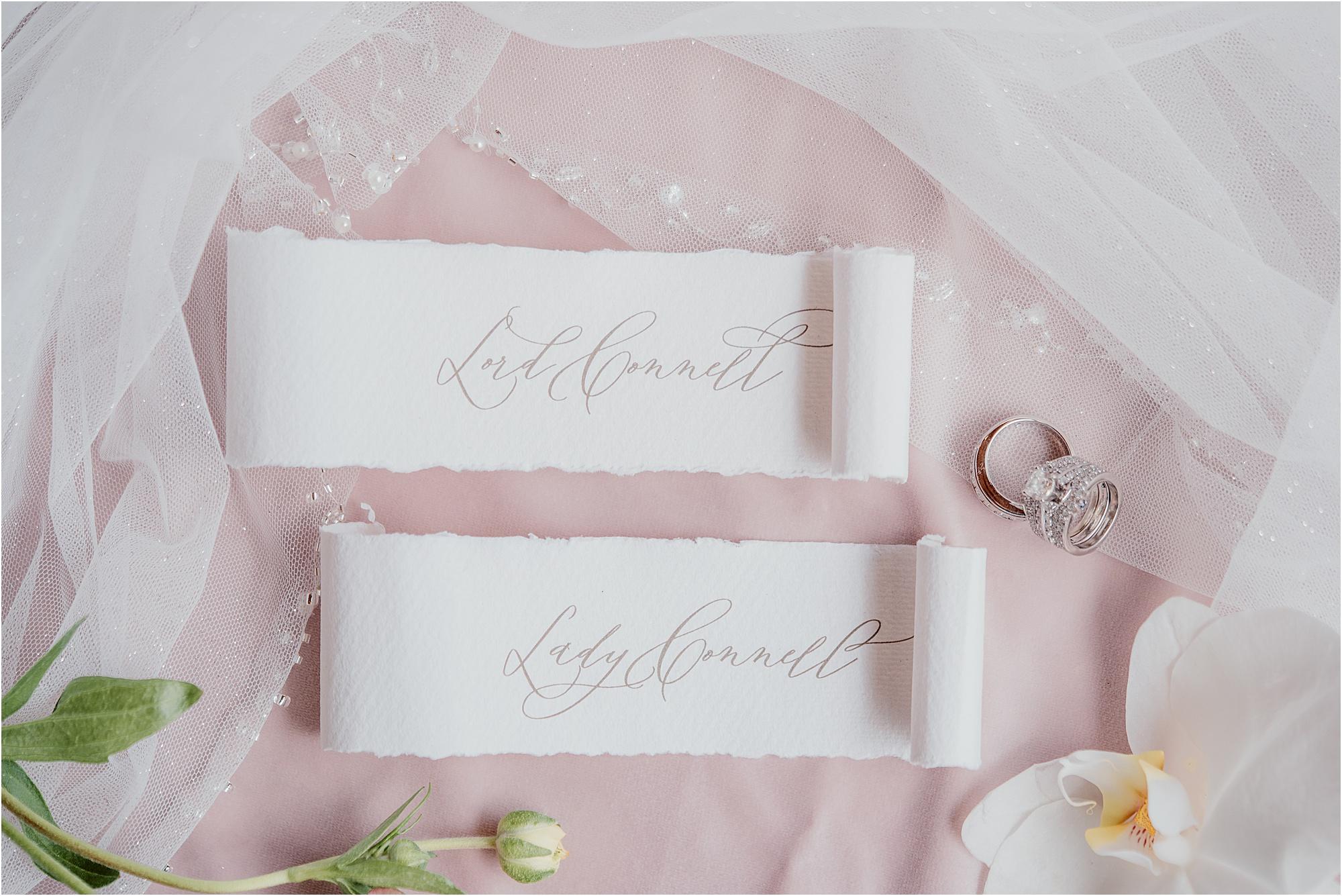 Fairytale wedding with luxury calligraphy and handlettering