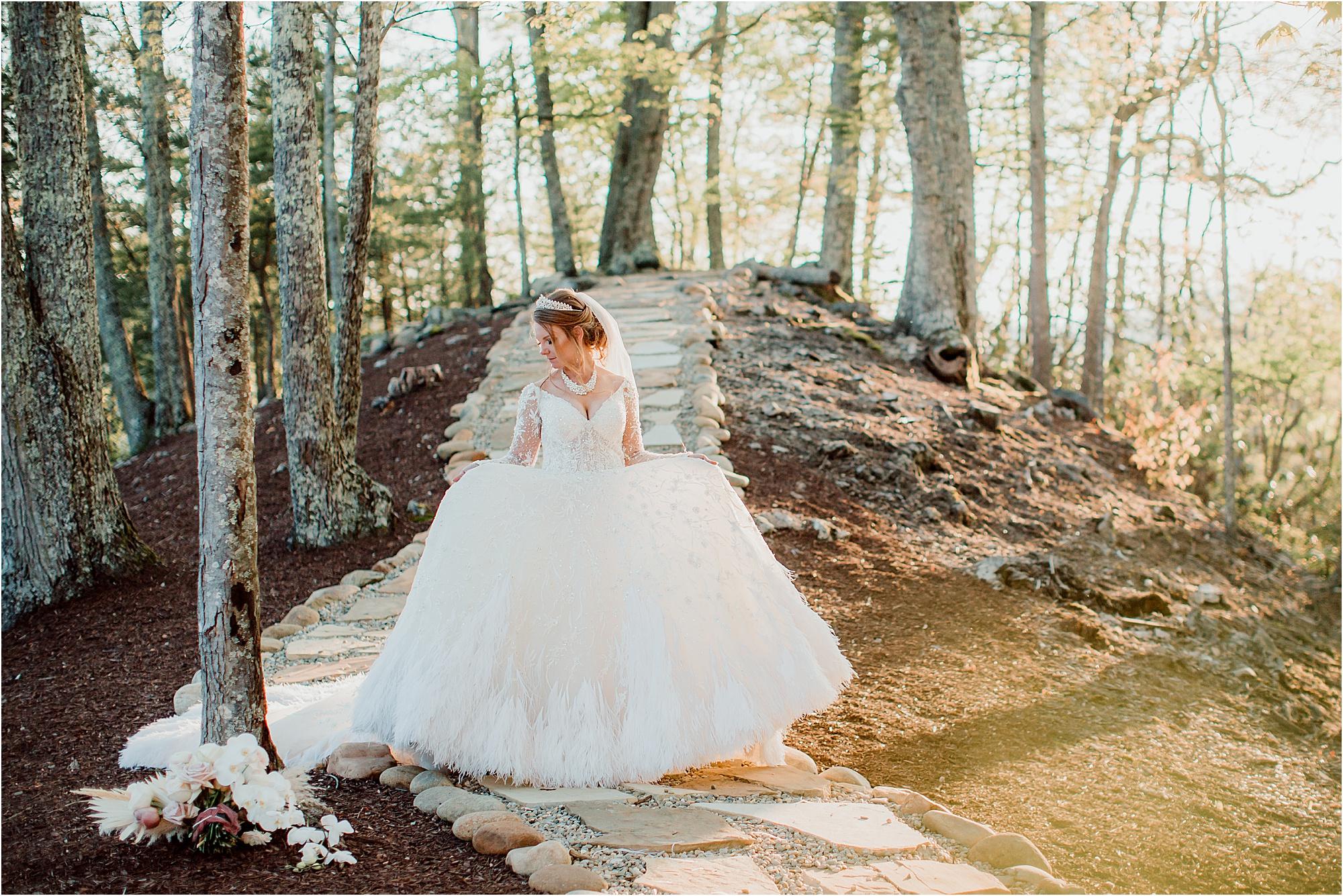 bride twirls in fairytale wedding dress