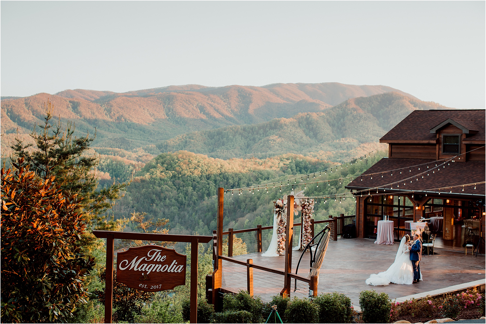 first dance overlooking The Great Smoky Mountains