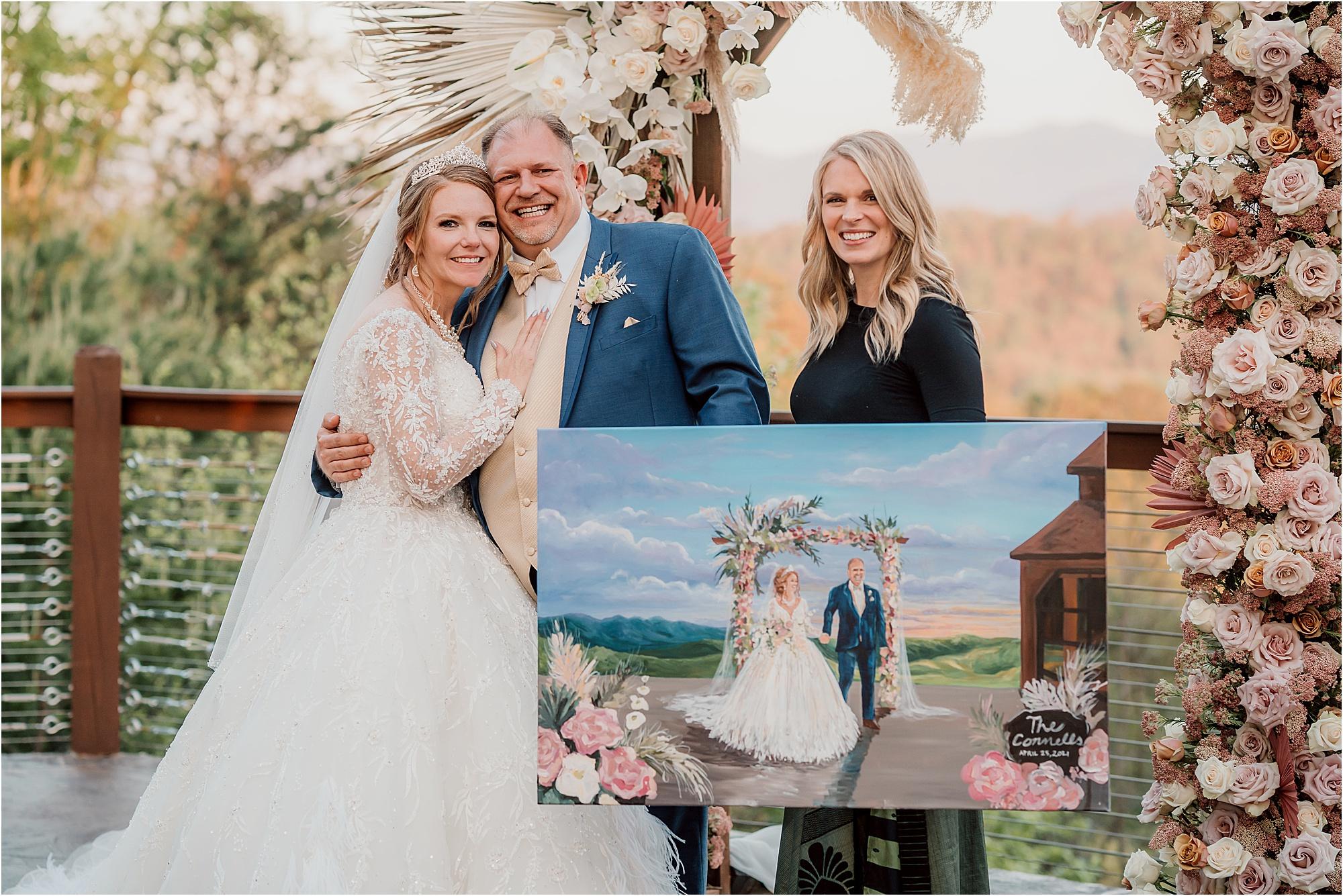 custom live painting at wedding