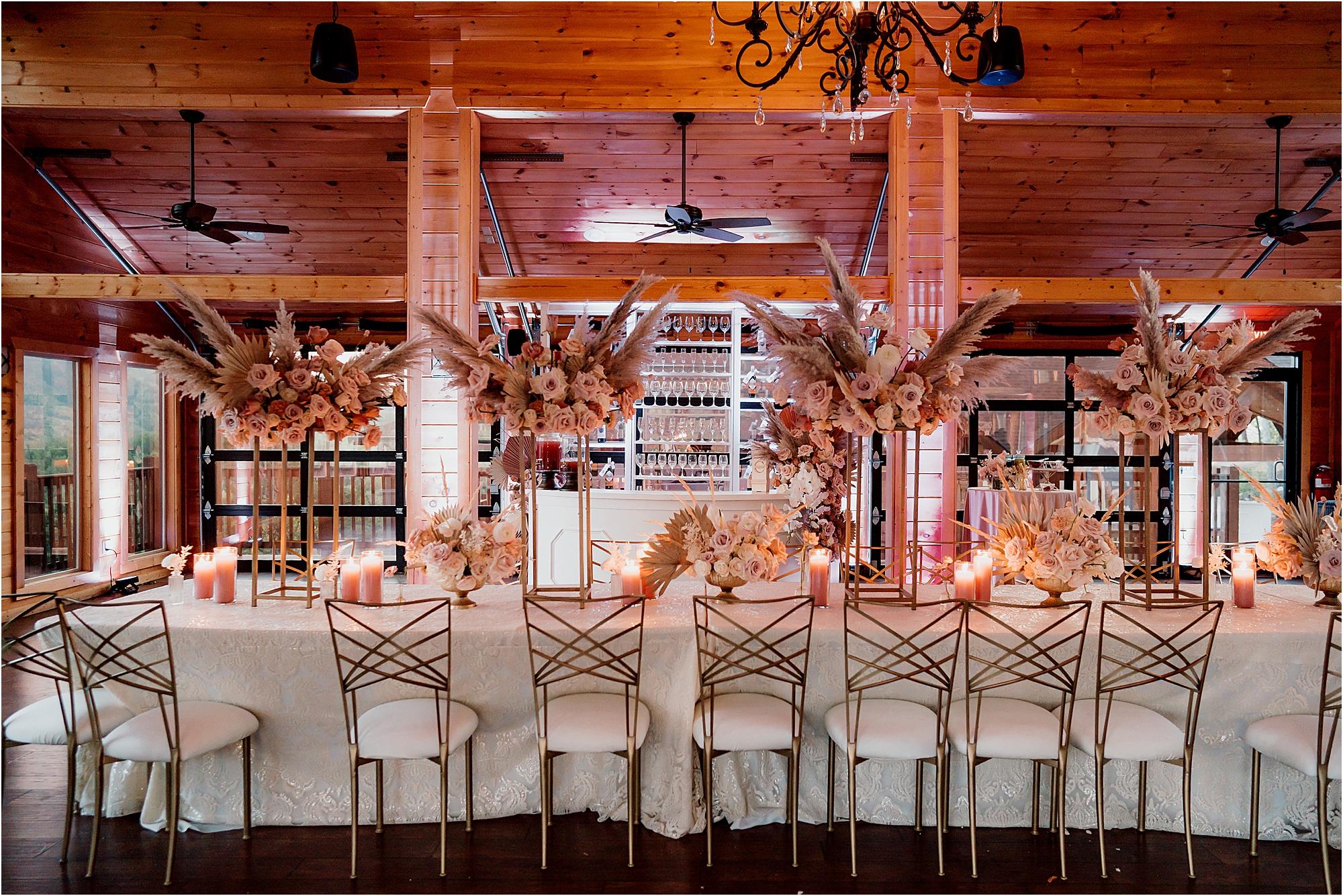 pink uplighting at luxury mountain wedding with Fairytale Theme