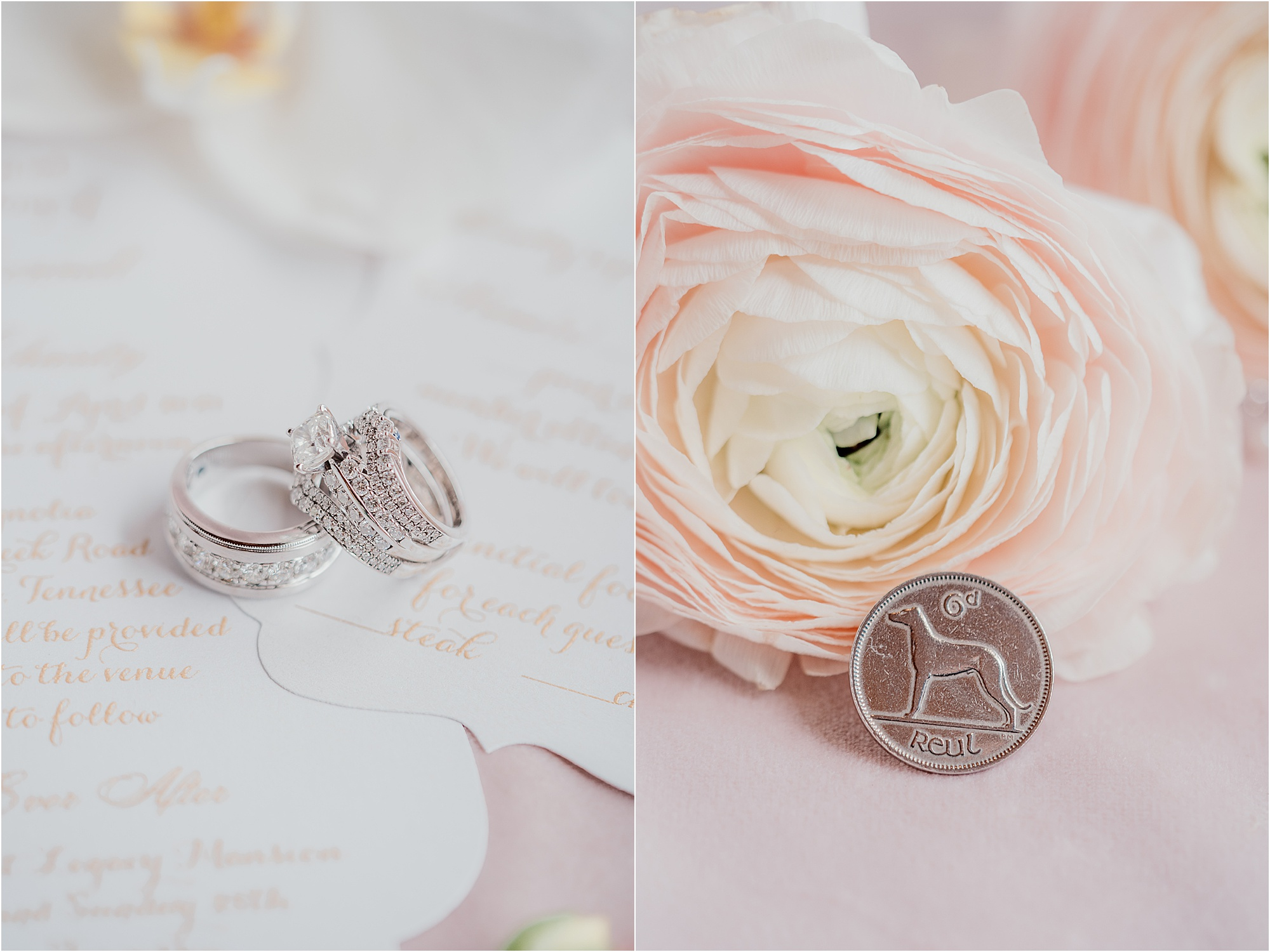 large wedding rings next to six pence on wedding day