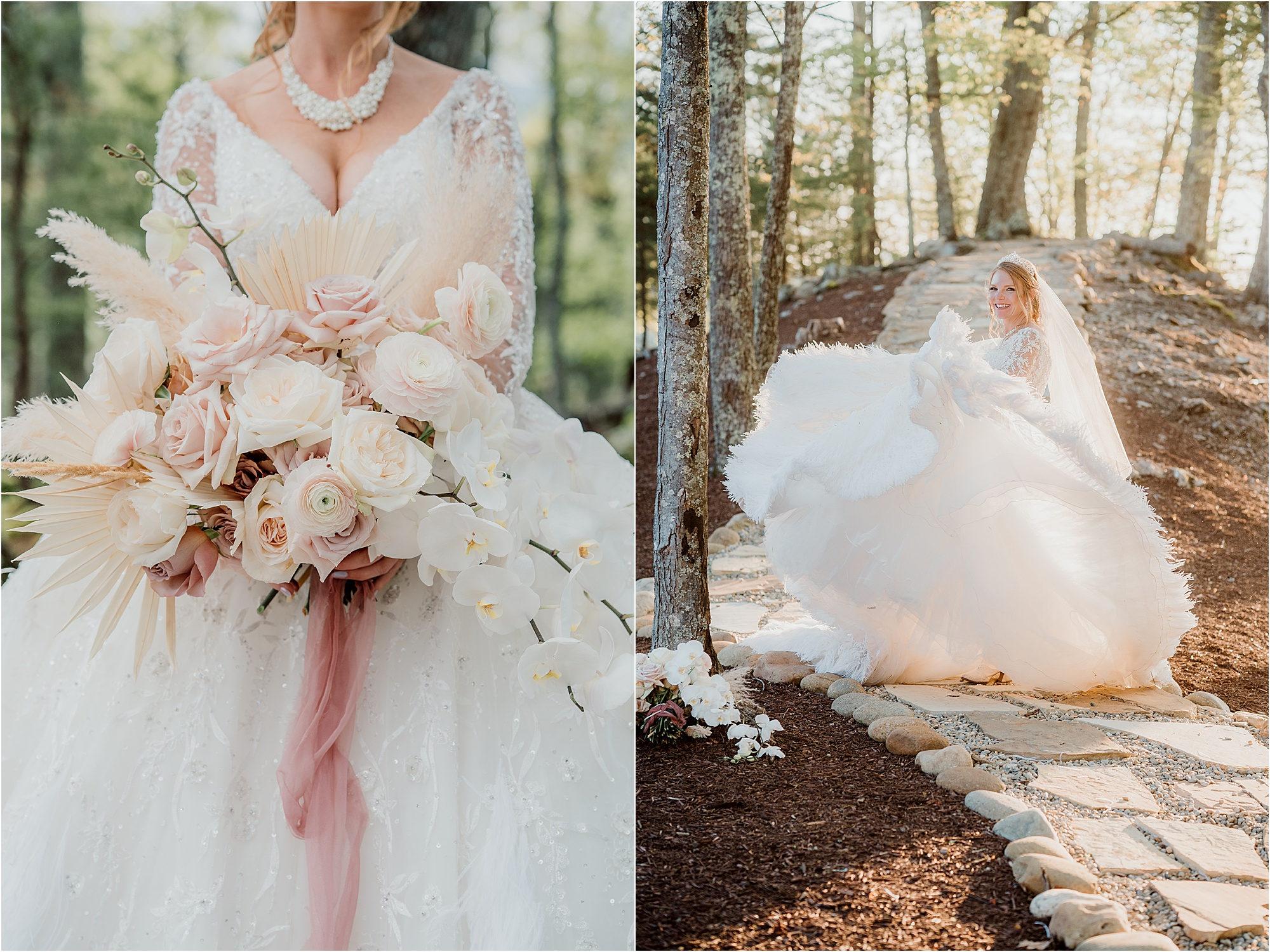 Fairytale wedding flowers and gown