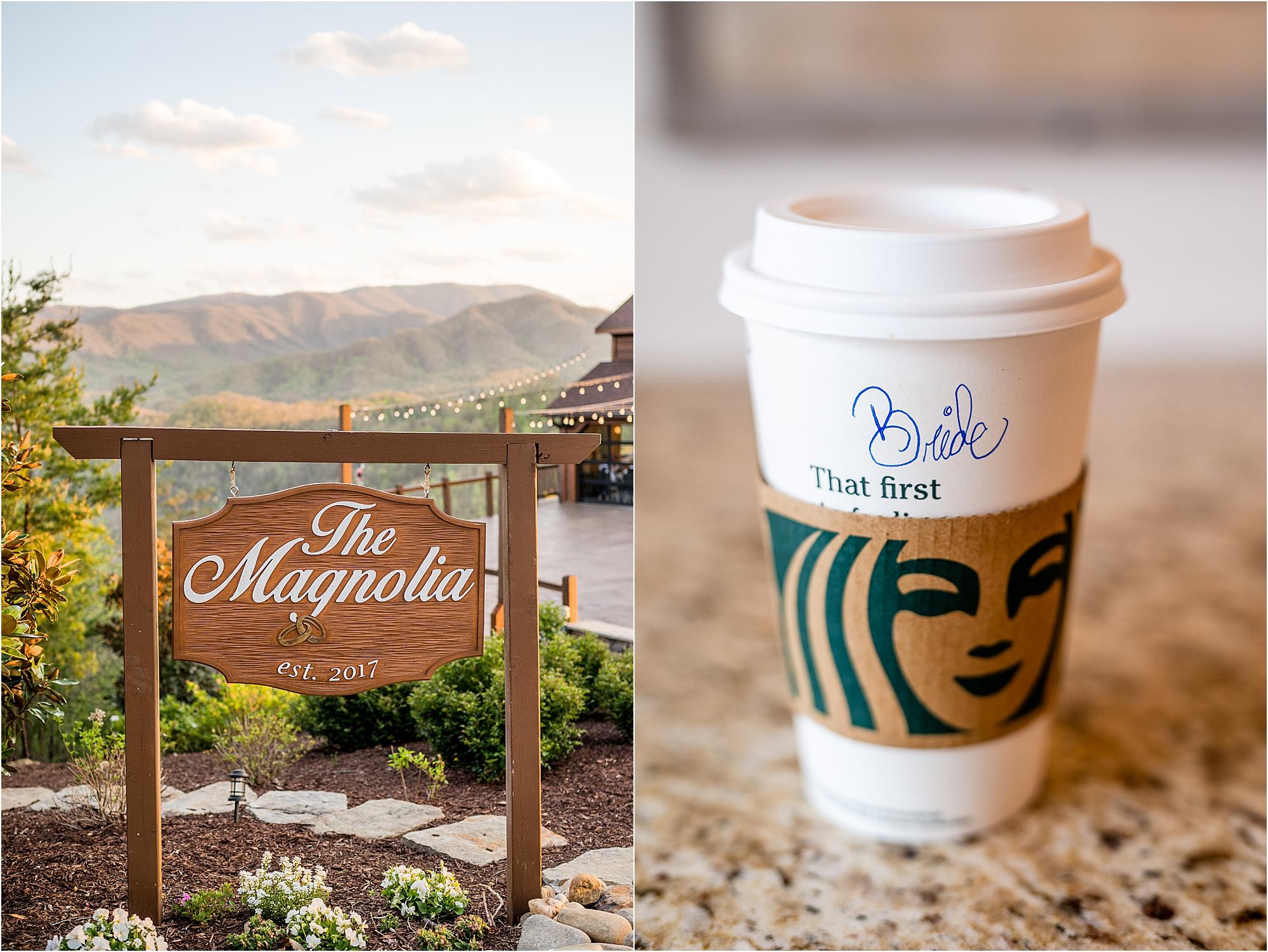 The Magnolia Venue Sign and Starbucks Bride Cup