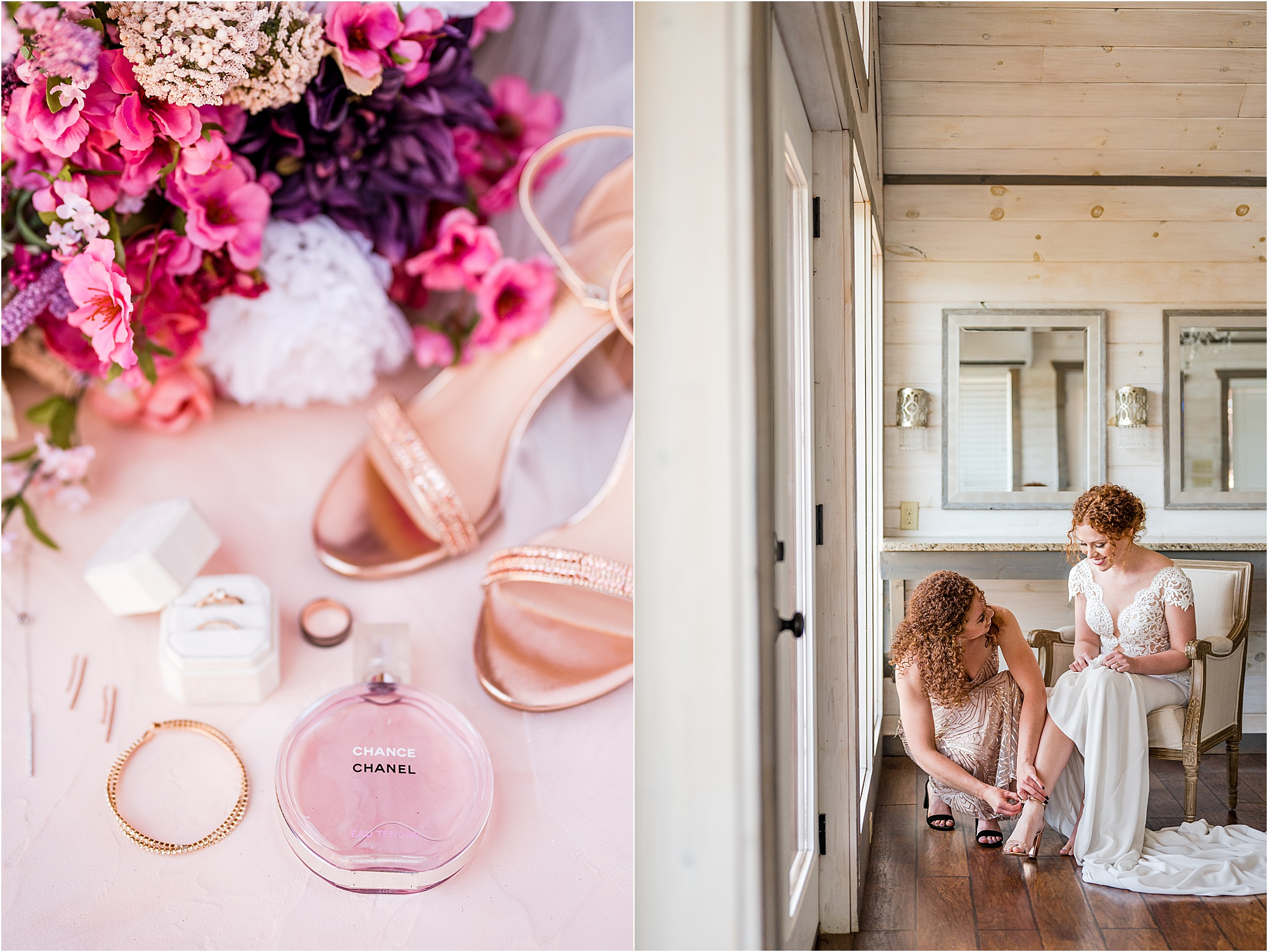 bride getting ready with sister in bridal suite