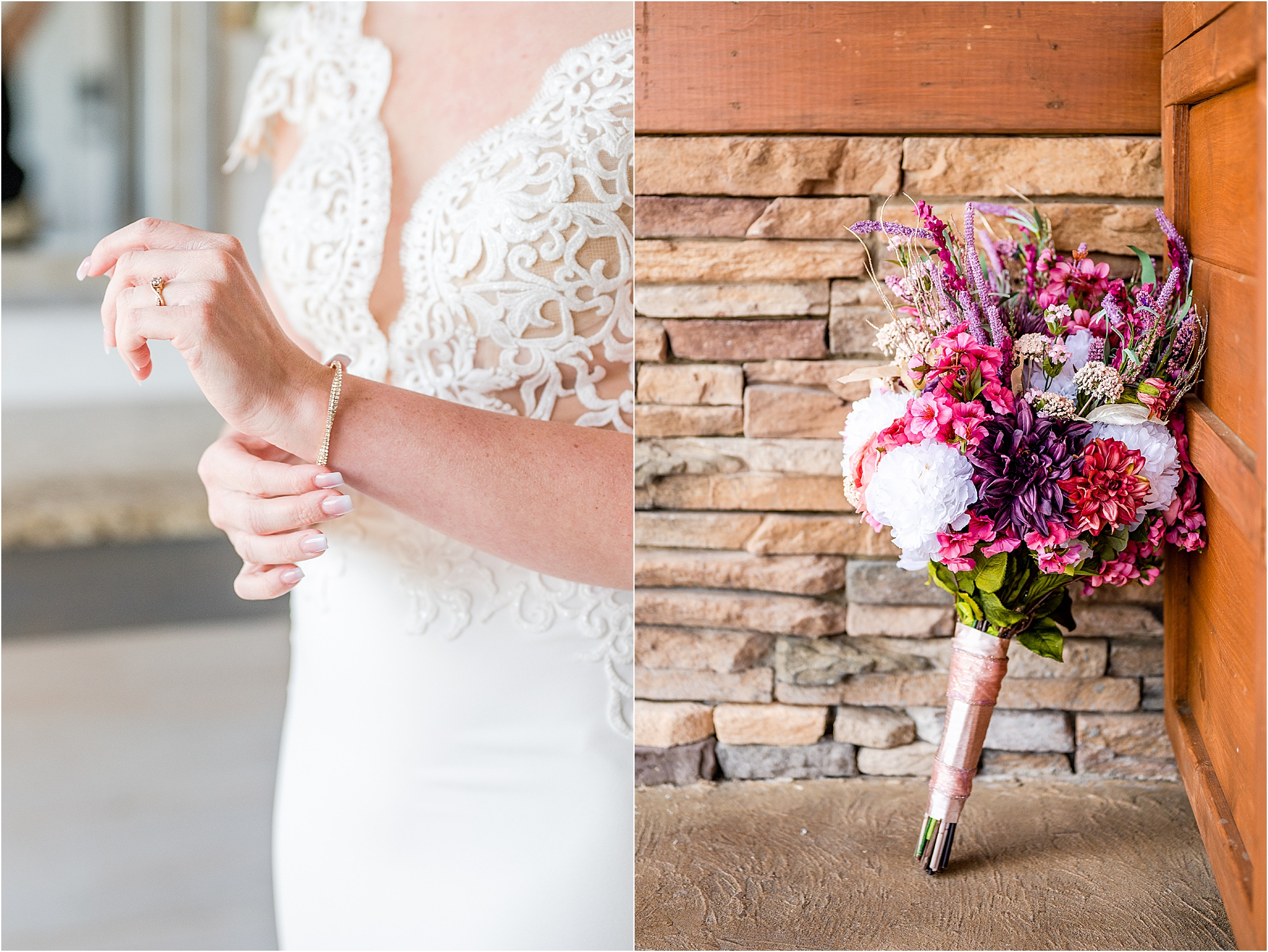 bridal details and bright pink wedding bouquet