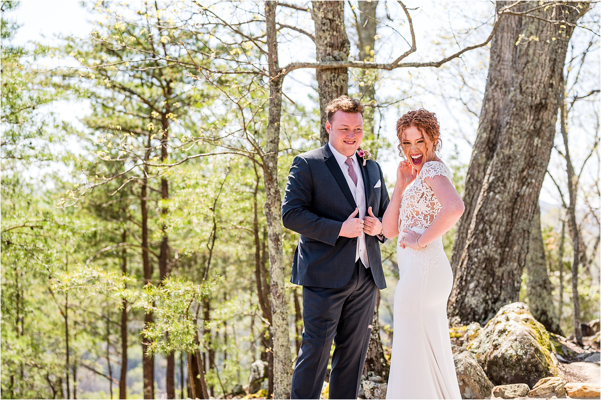 fun first look with bride and groom