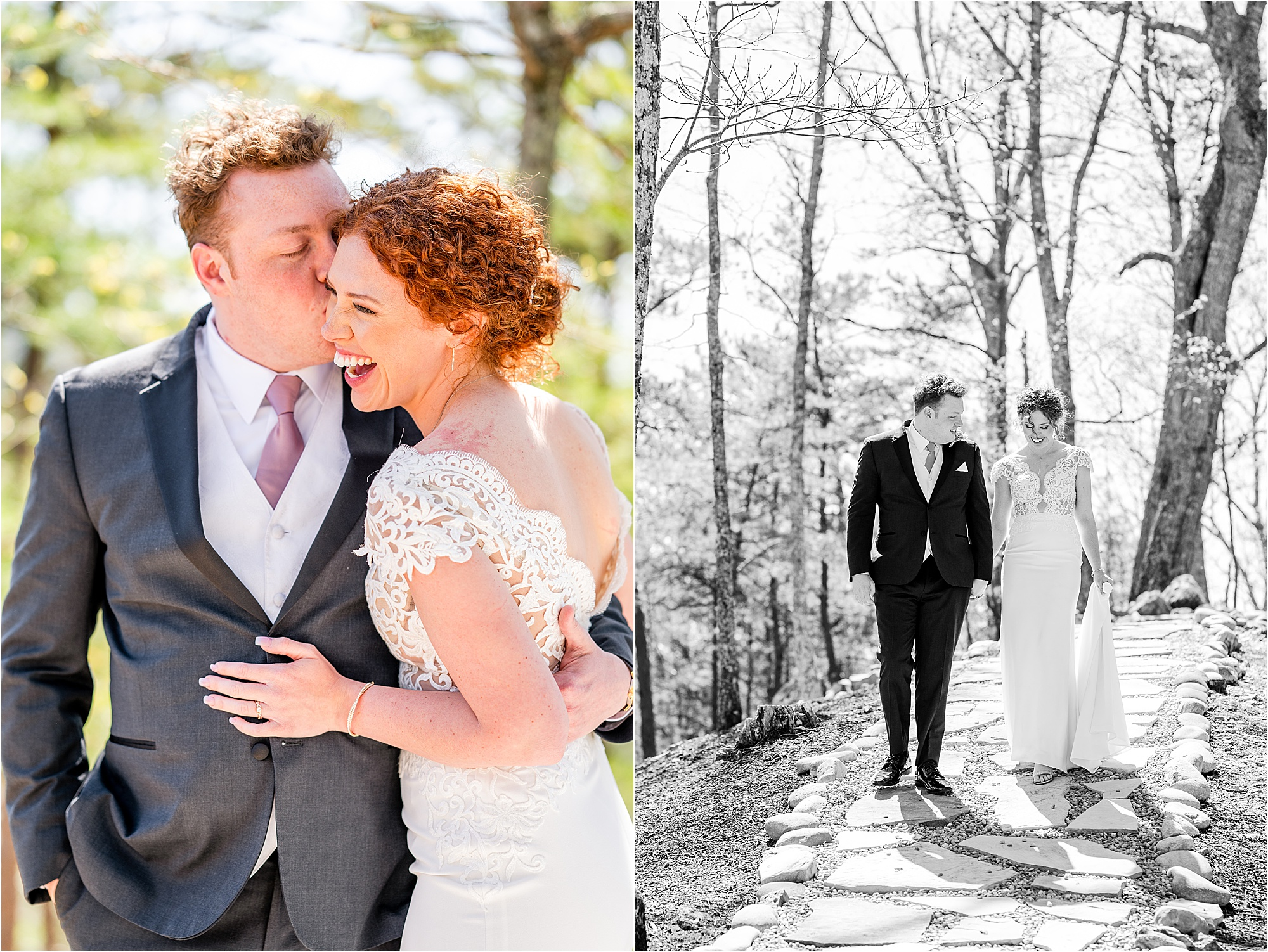 couple photos in harsh light at The Magnolia