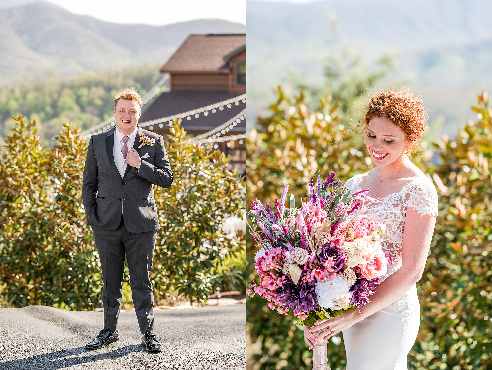 bride and groom portraits at The Magnolia Venue during Eclectic Wedding