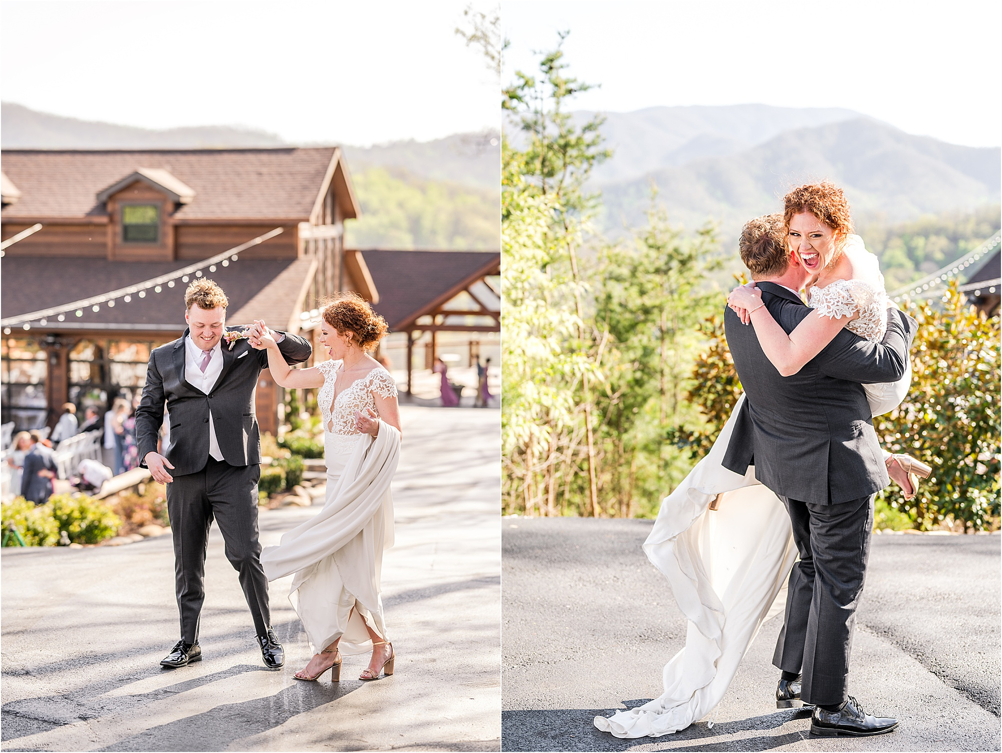 groom spins and picks up bride on wedding day