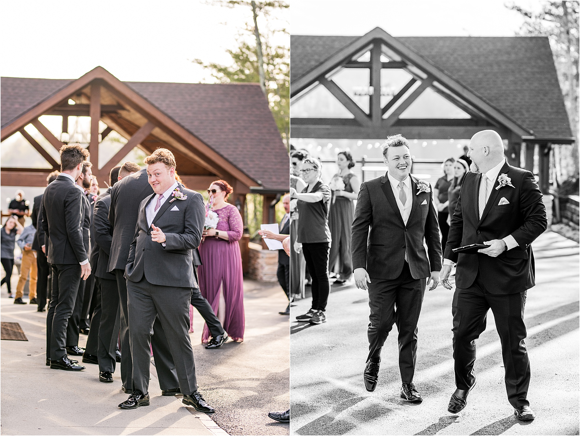 groom giving thumbs up before walking down the aisle at Eclectic Wedding
