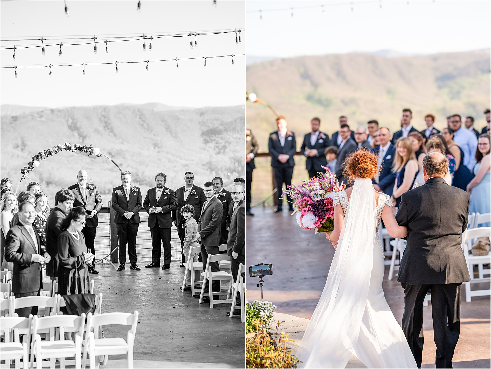 bride walking down the aisle at Eclectic Wedding