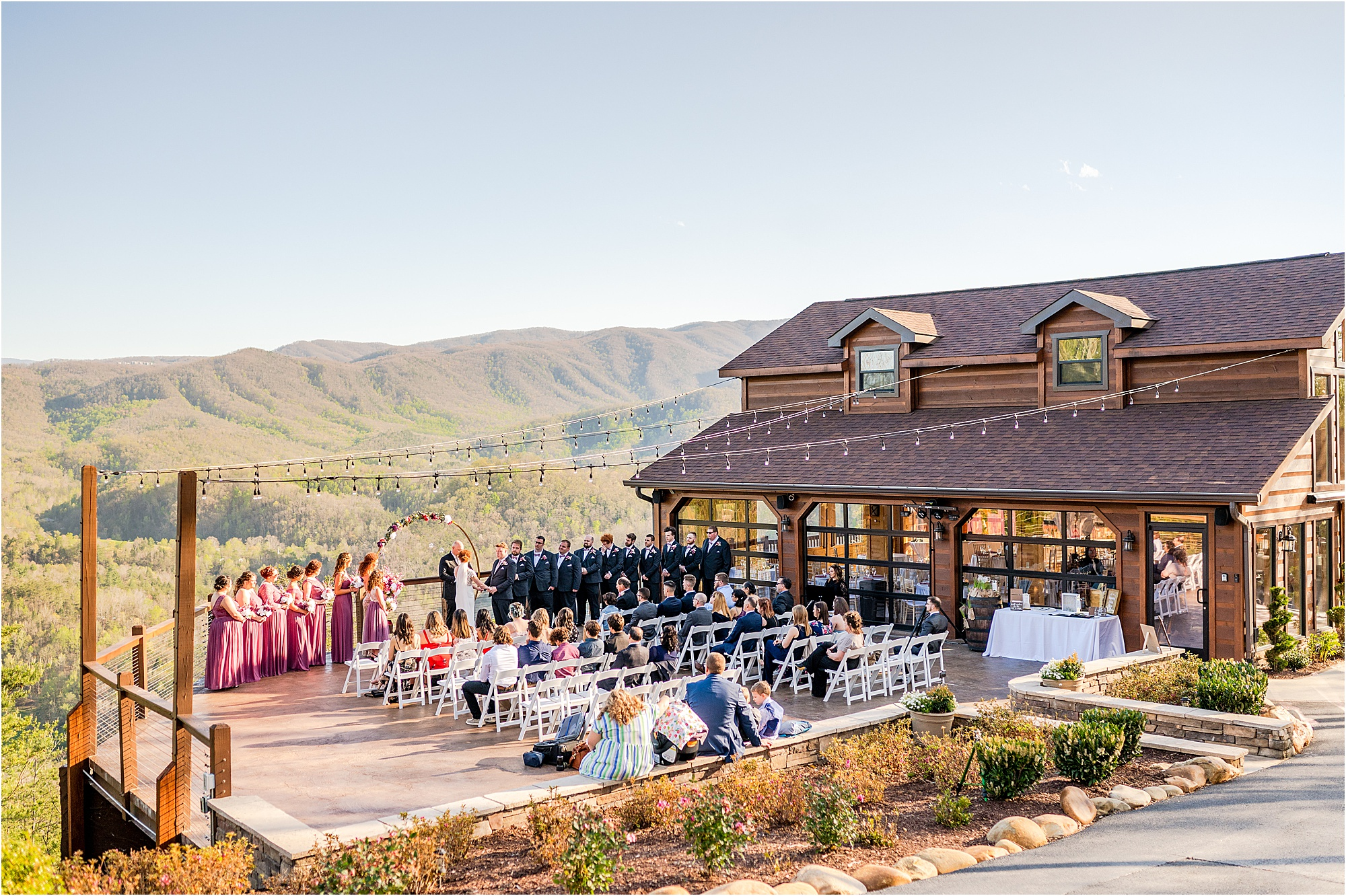 wedding ceremony overlooking The Great Smoky Mountains National Park