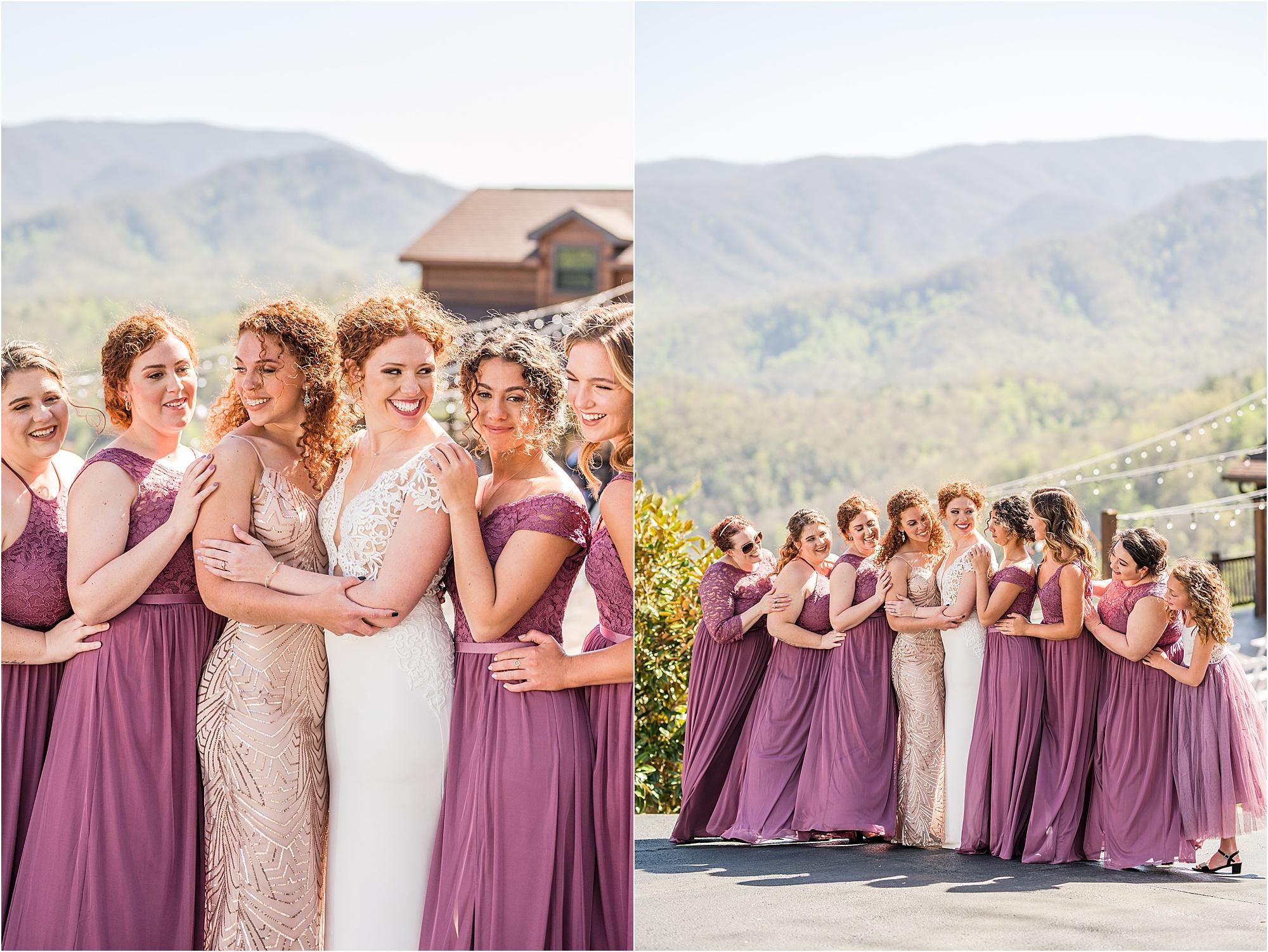 bride and bridesmaid photos in purple dresses