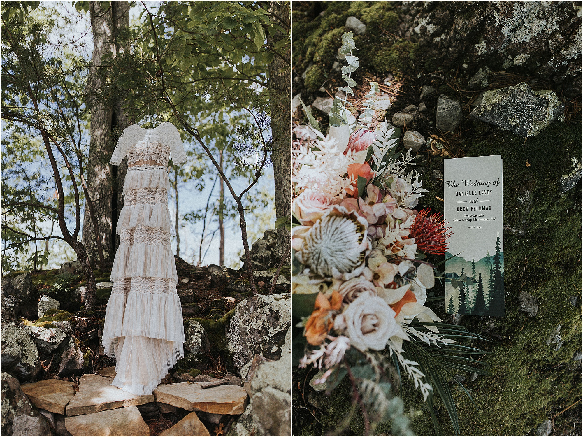 wedding dress hanging in trees and wedding invitation by bouquet