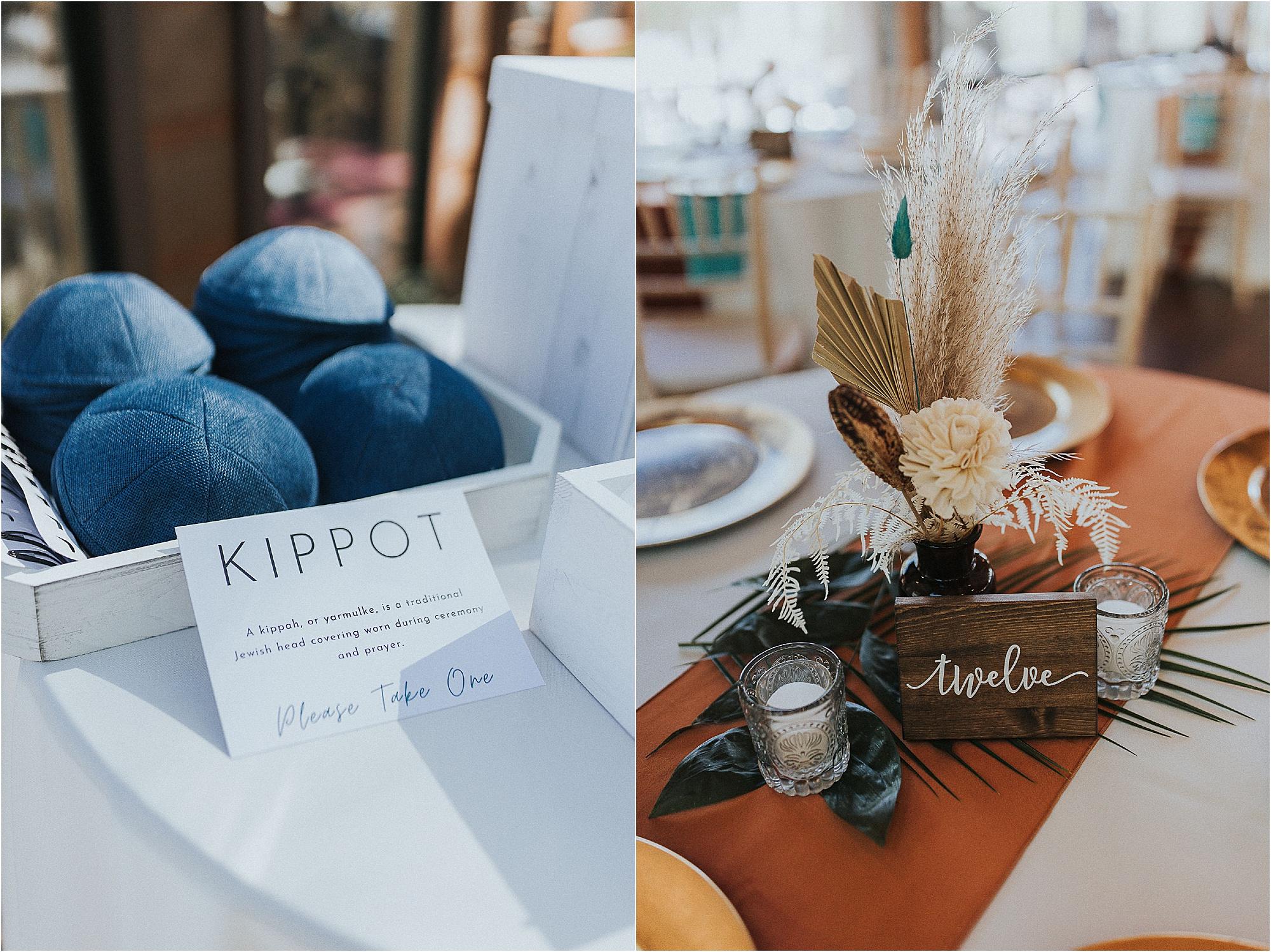 wedding reception decor at Jewish Wedding overlooking the Smoky Mountains