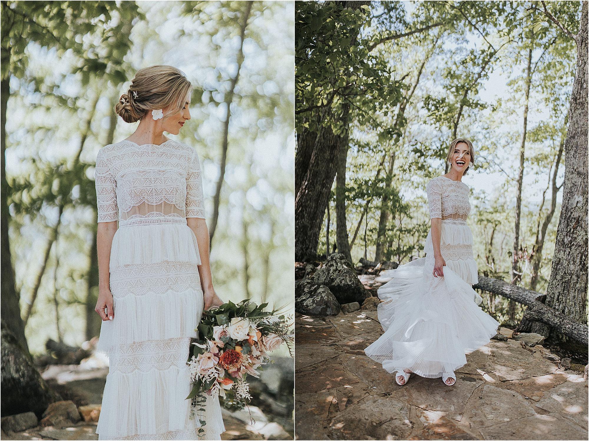 bride in unique wedding dress with fringe