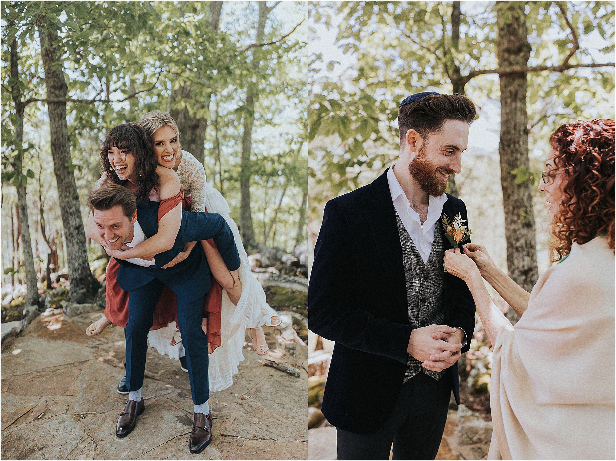 fun family photos and mother of the groom pinning on boutonniere