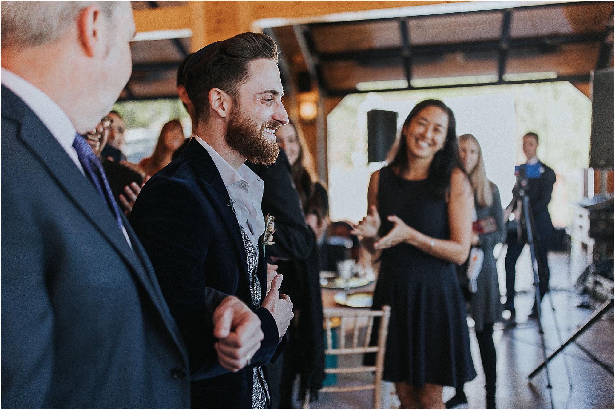 The B'deken between bride and groom at Jewish Wedding