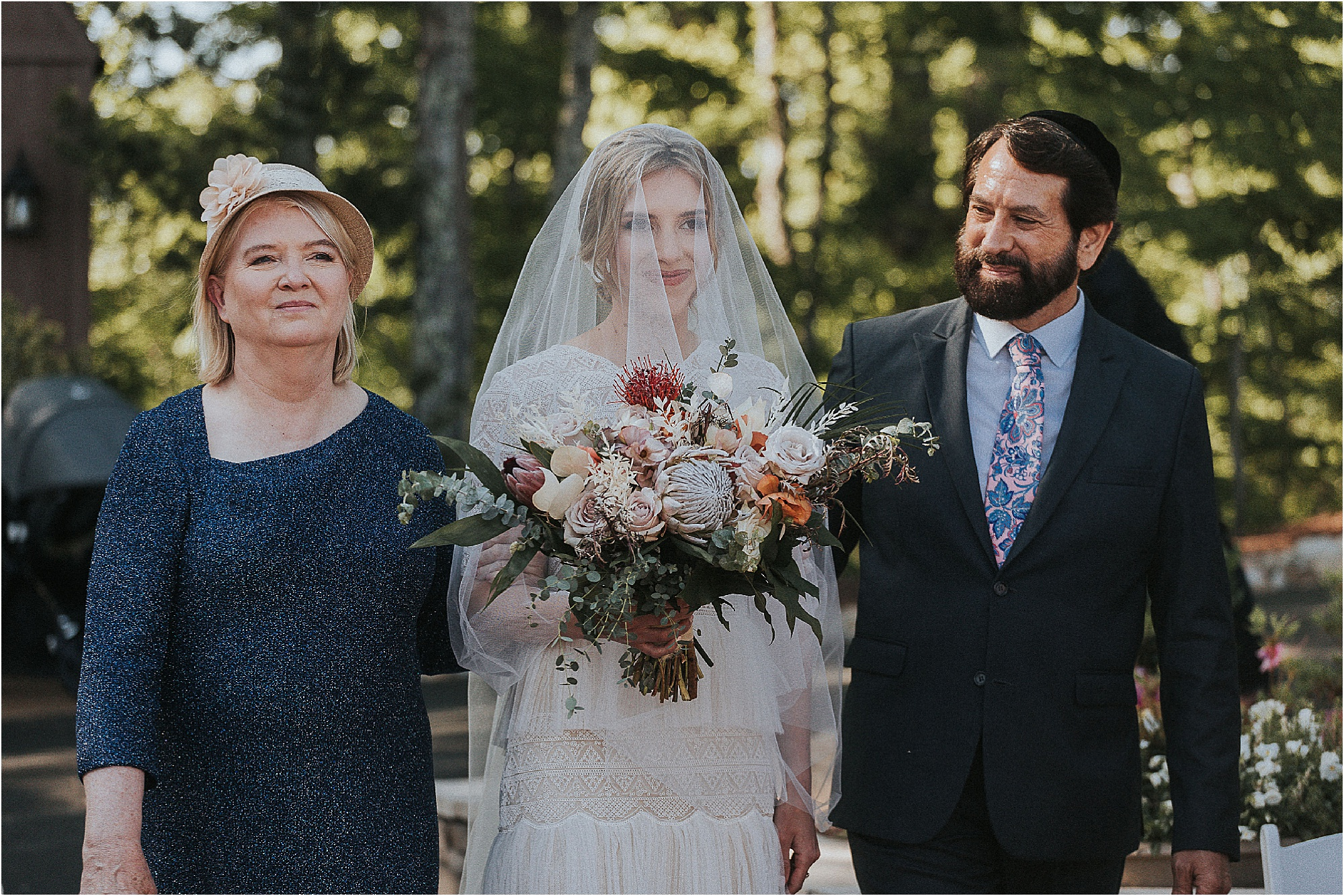 bride arriving at Jewish Wedding Ceremony