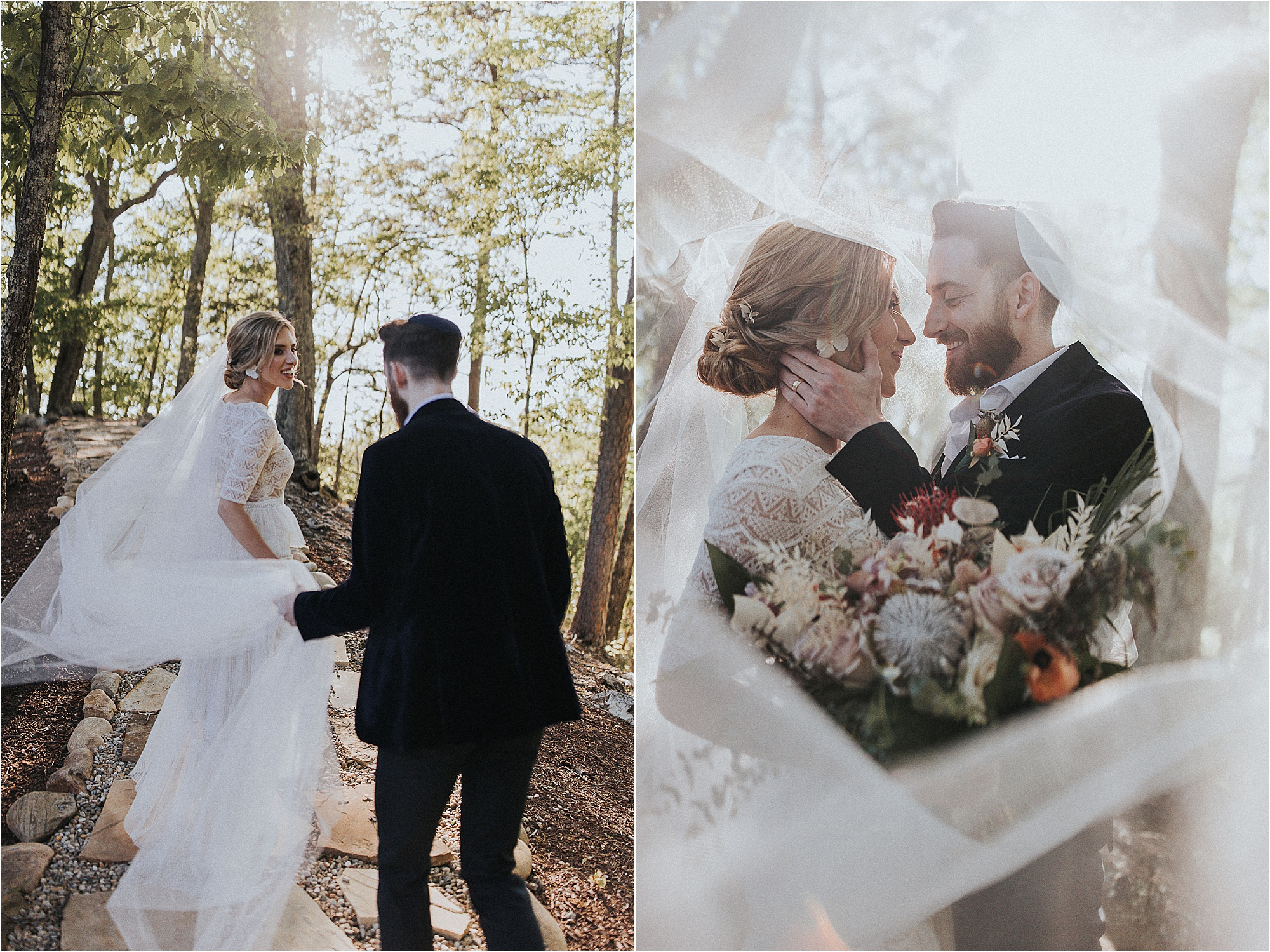 bride and groom walk in forest surrounded by wedding veil