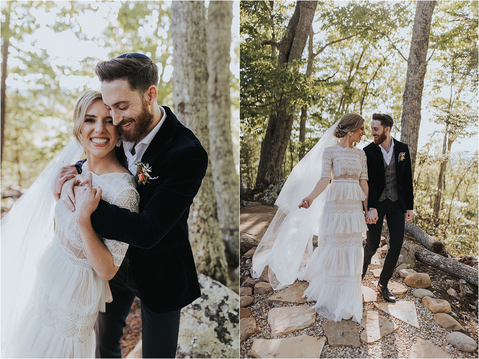 couple photos at golden hour at Jewish wedding