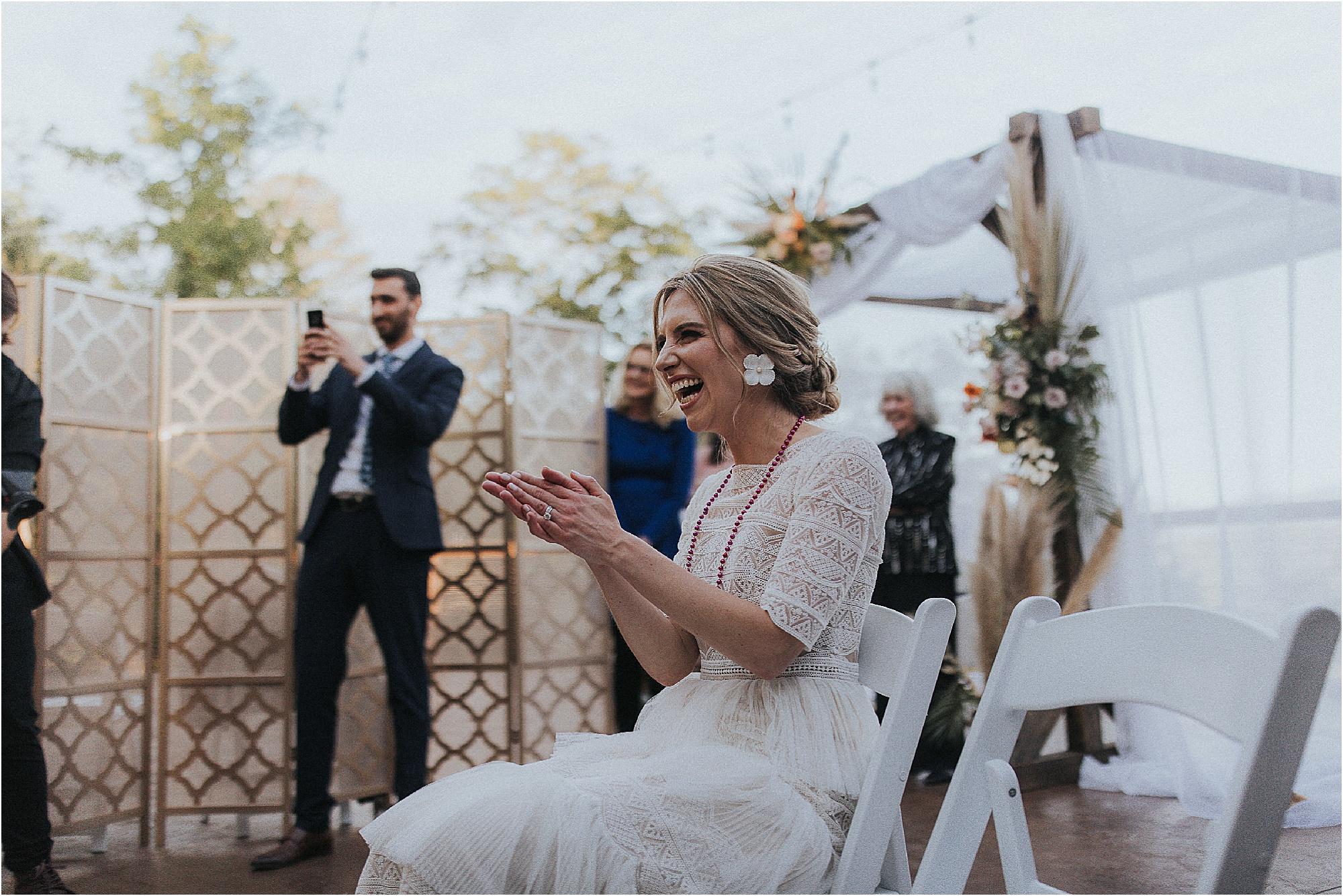 bride celebrates at Jewish Wedding Reception